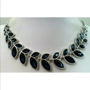 "Vintage Blue Rhinestone Necklace 22"""